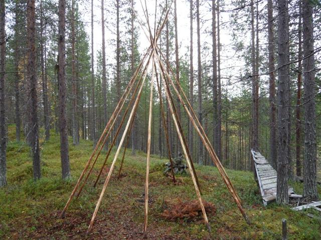 tipi poles erected (Small)