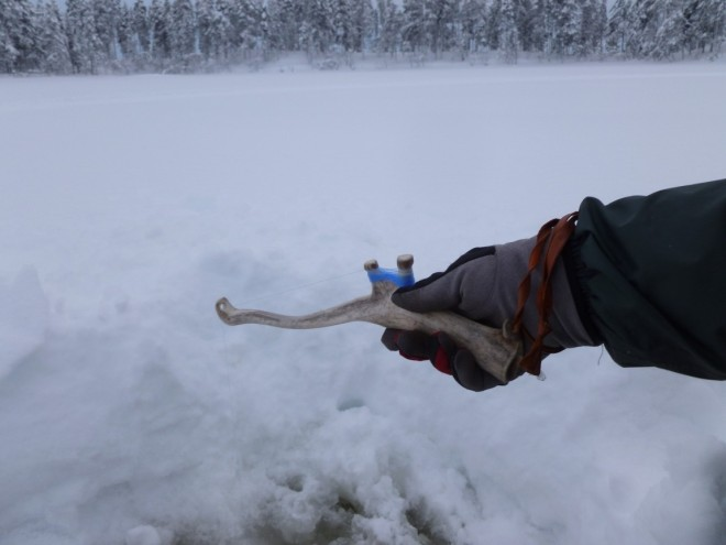fishing with reindeer horn rod