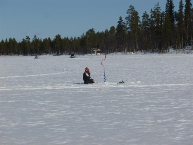 ice fishing at cabin