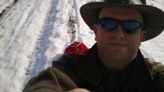 kevin warrington walking to cabin