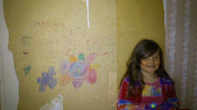 emma with wall painting