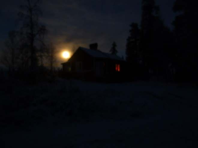 cabin by moonlight