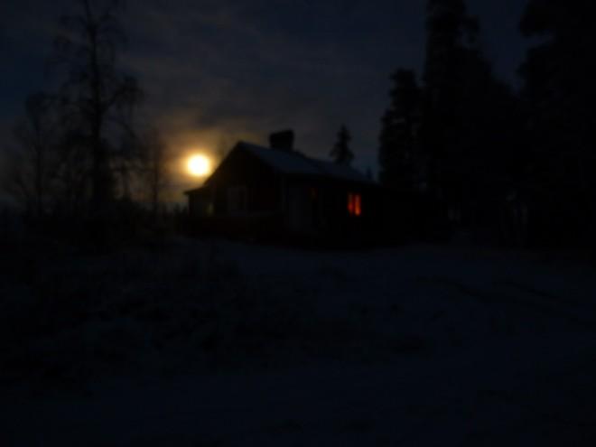 cabin by moonlight
