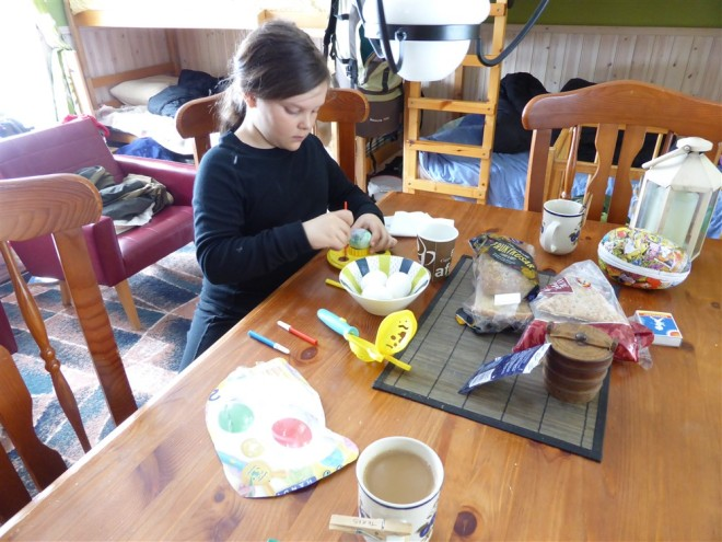 emma painting eggs
